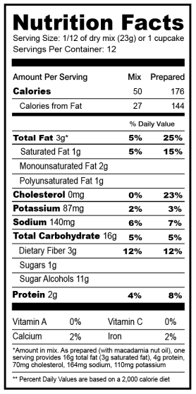 Betty Crocker Chocolate Cake Nutrition Label