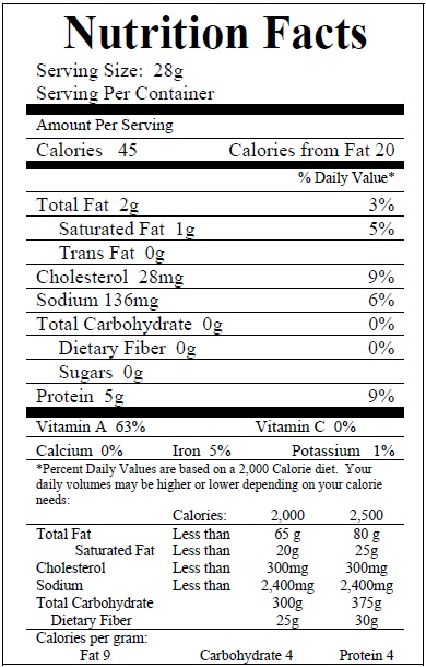 Beef Liverwurst Nutrition Facts